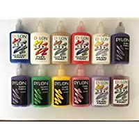 Dylon 3D Fabric Clothes Craft Paint Ultime Set of 12 Paints - Glitter Gold, Glitter Red, Glitter Silver, Pearl Lilac, Puff White & Glossy Green 25ml Each