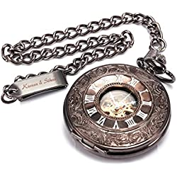 KS KSP004 - Reloj de Bolsillo de Mecánico, Caja de Cobre Bronce
