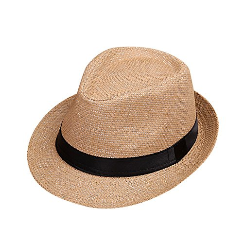 Kinder Mädchen Junge Mode Jazz Panama Mütze Kappe Strand Sonnenhut Faltbarer Trilby Gangster Hut mit Sonnenschutz breite Krempe (F) (Mädchen Gangster Outfit)