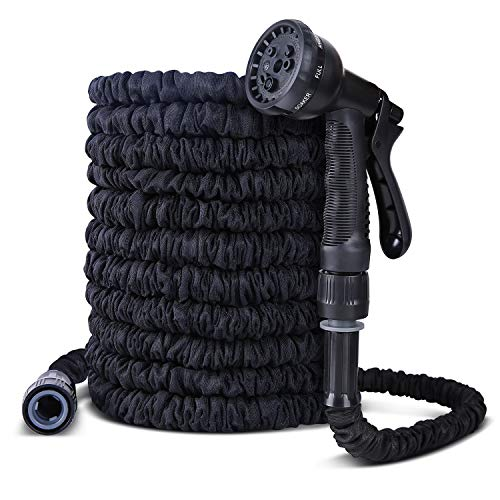Ohuhu Dehnbarer Gartenschläuche, Flexibel Wasserschlauch ausdehnbar bis 30M mit Multifunktion Düse 8 Arten Brause für Bewässerung Gartenarbeit Autowäsche Reinigung schwarz