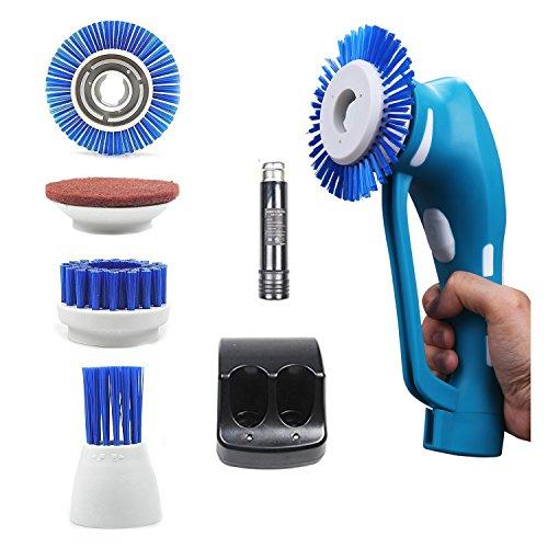 Preisvergleich Produktbild Power Scrubber, Handheld schnurlose Tile Scrubber Reinigungsbürste für Bad und Küche mit Akku, 1Akku 3Bürsten & 1Scheuerschwamm