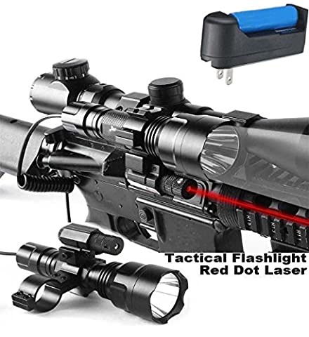 Featcow Tactical Rifle Red Dot Sight with Cree XML T6 1200 Lumen Flashlight Tactical Scope Mount + Remote Pressure Switch + Battery for Hunting Gun Air Rifle