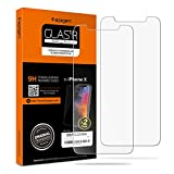 Spigen 2Pack Protection ecran iPhone X, Easy-Install Kit, Verre Trempé iPhone X, Extreme Résistant aux rayures, Vitre iPhone X, Ultra Claire, Film protection iPhone X, Film iPhone 10 (057GL22565)