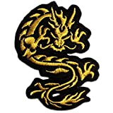 Aufnäher / Bügelbild - chinesischer Drache - gold - 6 x 9 cm - Patch Aufbügler Applikationen zum aufbügeln Applikation Patches Flicken