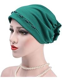 iBaste Coiffe Chic Turban Chimio Femme Bonnet Musulmanes Coton Wrap Hijab  Cap Perlée Détail Coiffe pour fa59ad72727