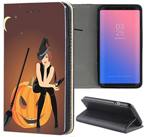 Samsung Galaxy A6 2018 Hülle Premium Smart Einseitig Flipcover Hülle Samsung A6 2018 Flip Case Handyhülle Galaxy A6 2018 Motiv (1579 Hexe Kürbis Halloween Cartoon)