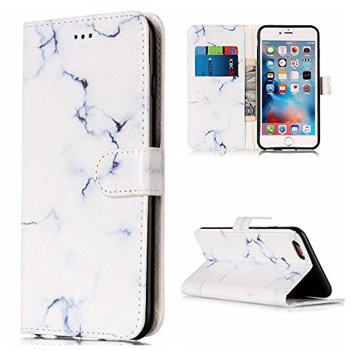 EKINHUI Case Cover Für Apple IPhone 6 & 6s Plus Horizontale Flip Case Cover Luxus Blume / Marmor Textur Premium PU Leder Brieftasche Fall mit Magnetverschluss & Halter & Card Cash Slots ( Color : D ) G