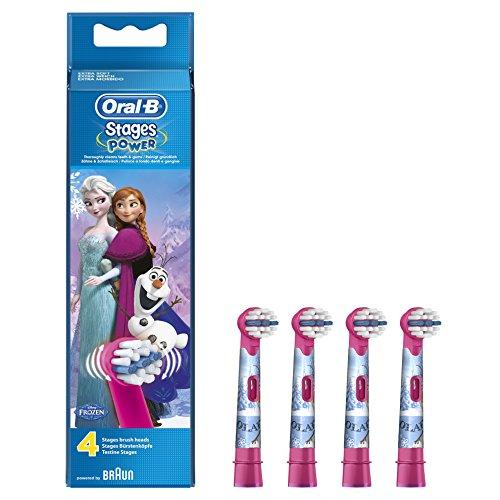 Oral-B Stages Power Kids Aufsteckbürsten mit Disneys (Die Eiskönigin - völlig unverforen, Ersatzbürstenköpfe für elektrische Kinderzahnbürsten, mit Disney-Figuren, powered by Braun) 4 Stück