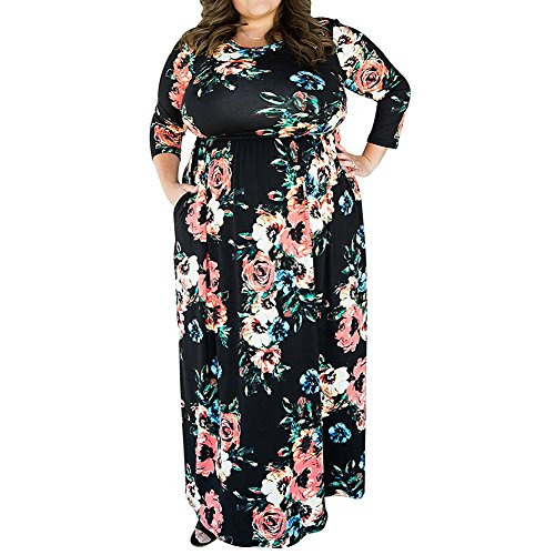 Mioloe Women's Casual Floral Print Short Sleeve Round Neck Soft Vintage Plus Size Maxi Dress