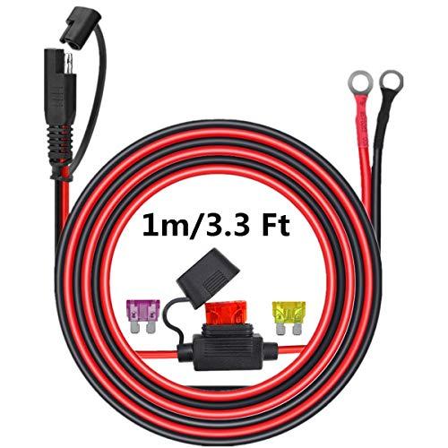 cavo di collegamento connettore SAE a o-ring, cavo di prolunga scollegamento rapido a 2 pin, cavo di ricarica terminale occhiello per moto, auto, trattore con fusibile di tipo 3