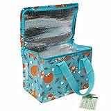 LS-LebenStil Design Vintage Kinder Kühltasche Thermotasche Öko recycled Lunchbag Kühlbox Fuchs Blau Braun 21x13x16cm