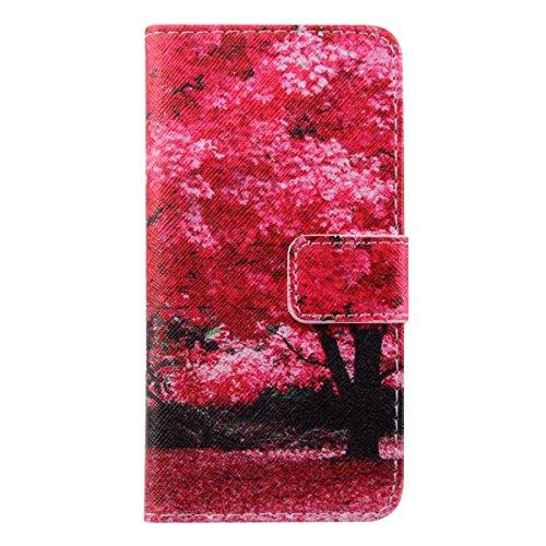 Ukayfe Custodia iPhone 6 Plus/6S Plus in Pelle, Portafoglio / wallet / libro Flip elegante e di alta qualità con porta carte di credito e banconote Stampa creativa Chiusura Magnetica Protettiva Cover  albero rosso