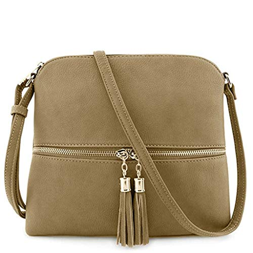 Bfmyxgs Mother es Day Messenger Bag für Frauen Leder Tassel Crossbody Bag Pure Color Shoulder Tasche Totes Handtasche Taschendiebstähle Totes Tasch-Bagtasche Totes Tasch-Bag. Brustpaket -