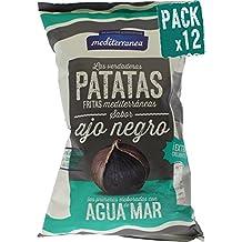 Pack de 12 uds Patatas fritas Mediterranea sabor Ajo negro, elaboradas con agua de mar
