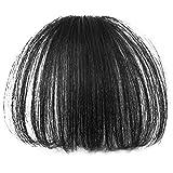 Vococal® Geraden Dünne Luft Haare Bang Haarteile Vollem Pony Haarteile Clip-in Haare Perücken Haarverlängerungen, Schwarz