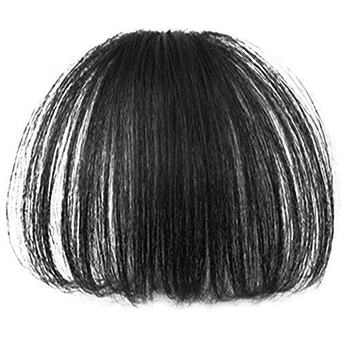 Vococal® Geraden Dünne Luft Haare Bang Haarteile Vollem Pony Haarteile Clip-in Haare Perücken Haarverlängerungen, Schwarz (Bang Clip In)