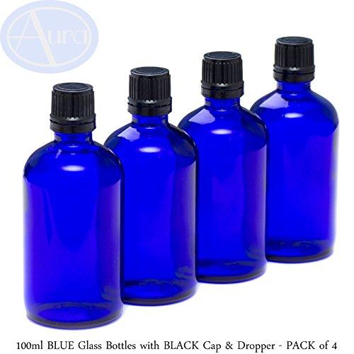 4er-PACKUNG - 100ml BLAUGLAS-Flaschen mit Schwarzen Sicherheitsverschlusskappen & Dosier-Tropfern. Ätherisches Öl / Verwendung in Aromatherapie.