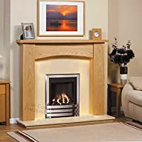 "Gas Chrome Oak Surround Cream Marble Silver Coal Flame Fire Big Modern Fireplace Suite - Large 54"" - UK Mainland Only"