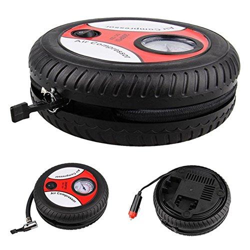 Qiilu Gonfiatore per pneumatici per auto 12V Compressore daria elettrico portatile per pompa di gonfiaggio per pneumatici per auto digitale 100 PSI per sfera per bici da auto