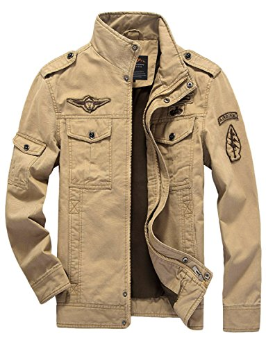 BELLOO Frühling Herbst Heren Übergangsjacke Feldjack aus 100% Baumwolle, Größe EU L(TAG SIZE 3XL), Farbe Khaki (Safari-jacke-khaki)