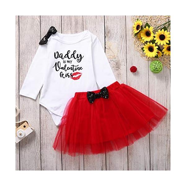Greenwind Mameluco del bebéBlusas Estampadas con Estampado de Letras para bebés de San Valentín y Traje de Ropa de Falda… 2