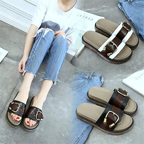 LIXIONG Portable Pente avec plate-forme sandales Traînée de mots de loisir de mode Sandales d'usure extérieure -Chaussures de mode ( Couleur : A , taille : EU36/UK4/CN36 ) A