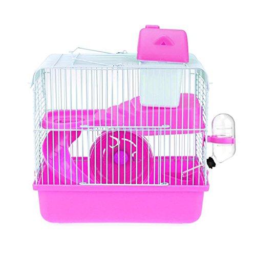 JOLIN'S SHOP Jolin 's Shop Hamster Travel Käfig, Kleine Tiere Pet 2Etagen Habitat mit Bett Rad Flasche Gericht & Plattform, Large, Rose (Kleine Hamster Für Käfige)