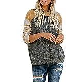 Herian Kapuzenpullover Damen Farbblock-Patchwork Lange Ärmel Hoodie Sweatshirt Pullis mit Kapuze und Tasche
