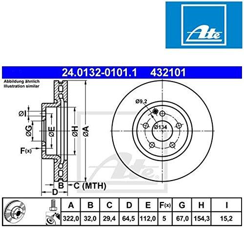 ATE 24.0132-0101.1 Bremsscheibe - (Paar) gebraucht kaufen  Wird an jeden Ort in Deutschland