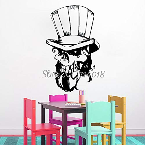 yiyitop Schädel Mit Hut Skeleton Vinyl Wandaufkleber Happy Halloween Wandtattoos für Wohnzimmer Wohnkultur Schlafzimmer Kunstwand 56 * 89 cm (Skeleton Halloween Dekoration Band)