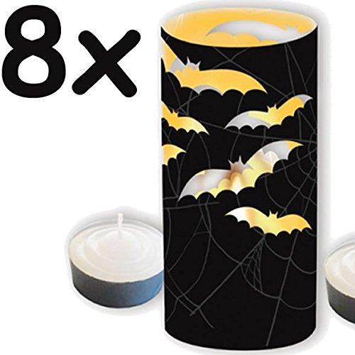 (Windlicht / Teelicht * HALLOWEEN & FLEDERMAUS * - 8 gruselige Deko-Umrandungen für Teelichter // Kerzen)