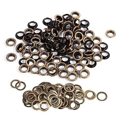 Akozon Ösen Loch Metall Ösen Bronze Schwarz Gold Runde Ösen DIY Dekoration Zubehör für Lederhandwerk und Scrapbooking Dekoration zu dekorieren(10mm 100pcs/Sätze) -