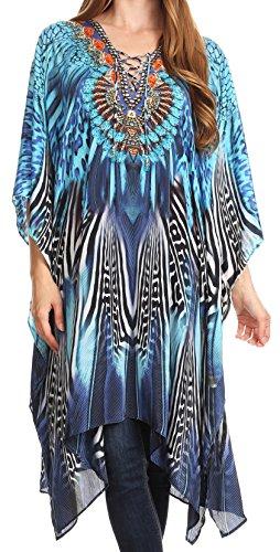 Sakkas P2 - Kristy Long Tall Leichtes Kaftan Kleid / Cover mit V-Ausschnitt Juwelen - 17117-BlackBlue - OS (Bejeweled Schwarz)
