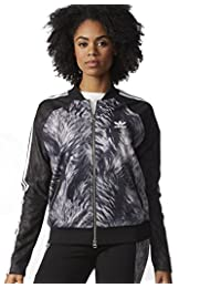 adidas Originals Womens Faux Fur Print Tracksuit Jacket Suedette Coat AB2816