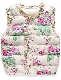 ESHOO Baby Mädchen Blumenweste Mantel Weste Kinder Herbst Winter Warme ärmellose Oberbekleidung Jacken