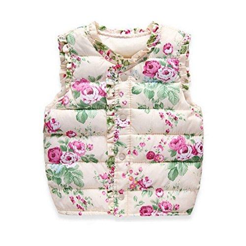 MORESAVE Neonate della maglia floreale senza maniche Warm Jacket Gilet