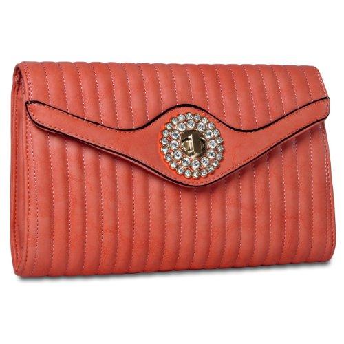 CASPAR Damen elegante Abendtasche Envelope Briefumschlag Umhängetasche mit edlem Strass - viele Farben koralle