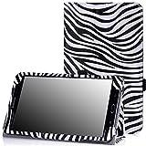 MoKo Samsung Galaxy Tab 4 8.0 Hülle - Kunstleder Ständer Tasche Schutzhülle Folio Schale Smart Cover mit Stift-Schleife und Standfunktion für Samsung Galaxy Tab 4 8 Zoll Tablet-PC,Zebra