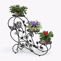 HLC-Noir Porte Pots Plante Fleurs 3 Etagere Support Jardin en Metal Fer