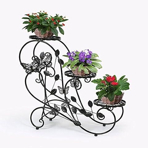 HLC-Noir Porte Pots Plante Fleurs 3 Etagere Support Jardin en
