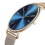 LIGE Hombres Mujeres Unisex Reloje Moda Ocio Simple De Cuarzo Analógico Impermeable Reloje Rosa Dorado Azul Malla Acero Inoxidable Reloj De Pulsera