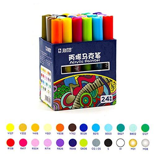 Acryl Paint Marker Medium Spitze Acryl Stifte Textmarker Permanent DIY Paint Bright...