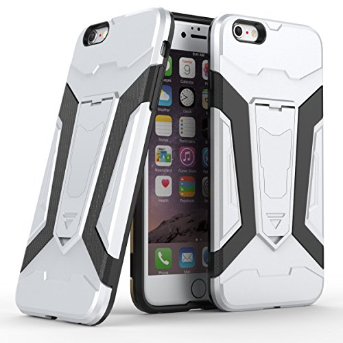 Apple iPhone 6 Plus/6S Plus 5.5 Coque, Voguecase [Armure Series] 2 in 1 Shockproof Hybrid Doux TPU and Hard PC Rugged Protective Rigide Plastique Shell Housse Coque Étui Avec Built-in KickSupporter(Ma Argent