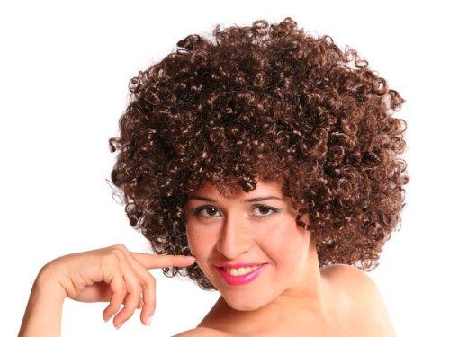 Trendmaus.de Curly Bunte XXL Afro Clown Lockenkopf Wig Perücken - für Fasching und Karneval, Braun (Bunte Afro-perücken)