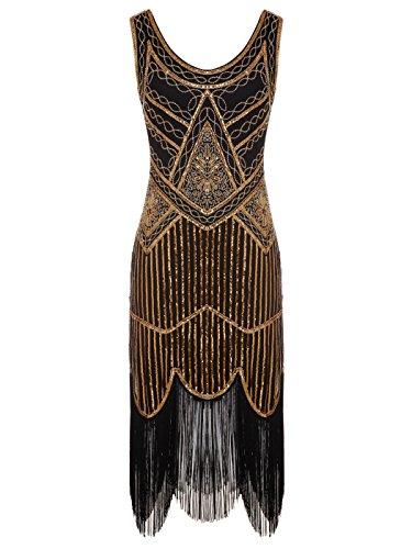 illetten Perlen Quasten Falten Gatsby Flapper Kleid D20S001(M,Schwarz) (Flapper Frauen)