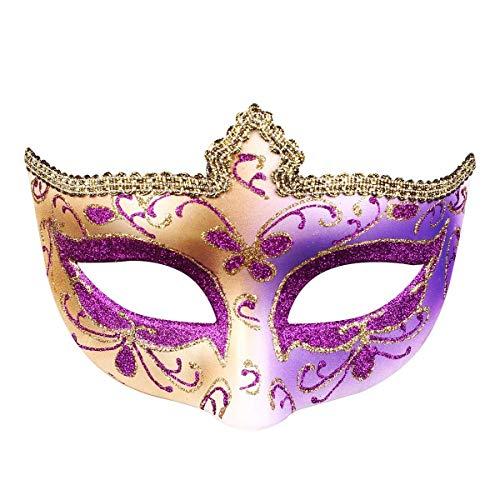 X&MX Kreative Maskerade-Spitze-Masken-Partei-Schönheits-Halbe Gesichts-Tragende Maske Für Dame,Purple