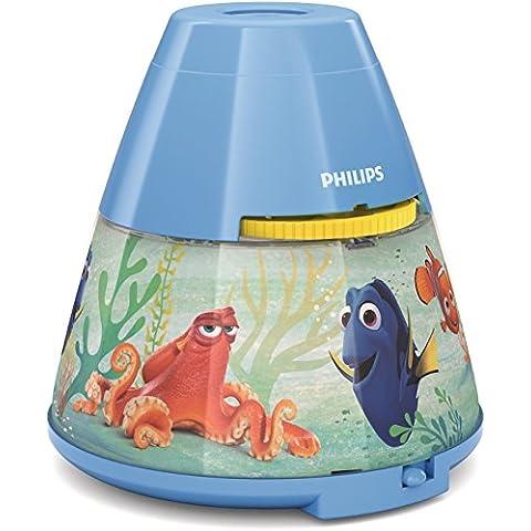 Philips Disney Dory - Proyector y luz nocturna 2 en 1, luz blanca cálida, bombilla LED de 0,3 W, color azul claro