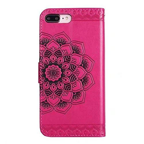 Hülle für iPhone 7 plus , Schutzhülle Für IPhone 7 Plus geprägte elegante runde Blumenmuster Faux Leder Tasche Geldbörse mit Lanyard Strap & Halter & Kickstand & Card Cash Slots ,hülle für iPhone 7 pl Red
