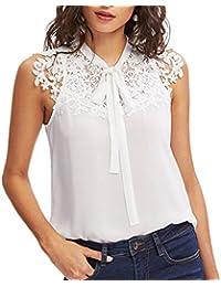 Damark(TM) Ropa Camiseta sin Mangas Tank Tops para Mujeres, Verano Sexy Deporte Casual Lace Chaleco Blusa Tops Blusas Crop Tops Vest T…