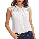 VECDY Wild Fashion Women Summer Nouveau Produit sans Manches Noeud Papillon Dentelle Mince en Mousseline De Soie Blouse Top Tank Vest Shirt(Blanc,XL)